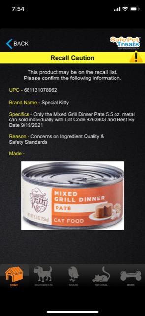 Safe Pet Treats app screenshot