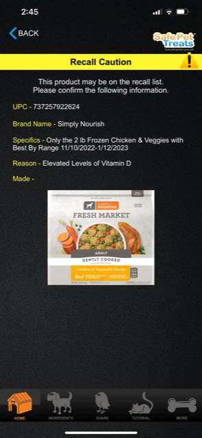 Simply Nourish Dog Food Recall