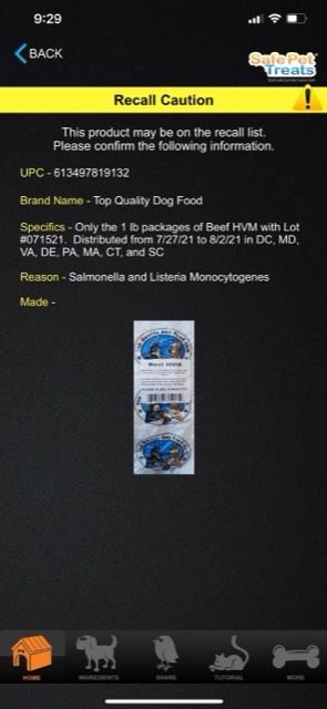 Top Quality Dog Food Recall
